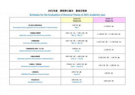 [:ja]博士論文 予備審査出願期間(2021年度前期)[:en]Application period for the preliminary evaluation in 1st semester of 2021 academic year[:]